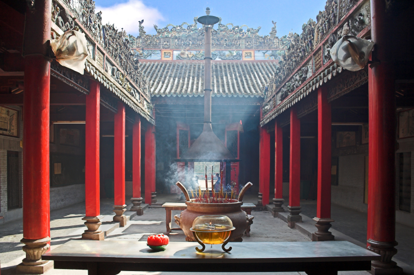 Smoke-filled temple